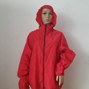 American Apparel Red Hooded Raincoat, Large